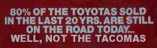 80 Percent Of The Toyotas Sold In The Last 20 Years Are Still On The Road... Excluding Tacomas